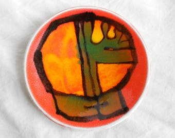 Vintage Poole Delphis Pin Dish Decorated By Carol Cutler, 1970s, Poole Pottery Shape 49
