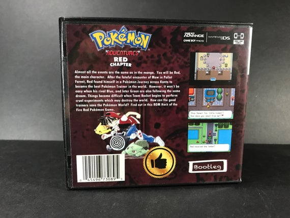 Pokemon Adventures Red Chapter ROM Hack Fan Made Game Gameboy Advance GBA  Custom Case