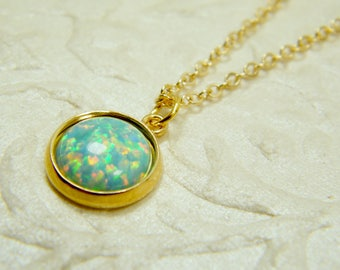 Turquoise opal necklace, Blue gold necklace, Opal pendant, Gem stone necklace, 14 k gold filled necklace, Gift for women, Opal jewelry