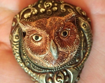 Owl Face in Silver repousse Pendant