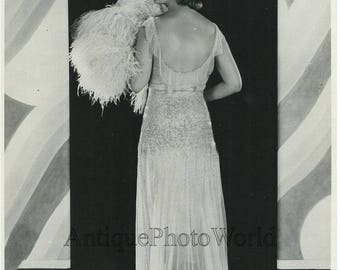 Beautiful actress amazing dress antique photo