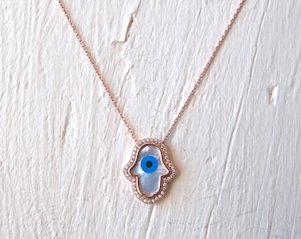 Evil Eye Necklace, Hamsa   Mother of Pearl  Evil Eye on Silver Chain, Pink Gold Plated over Sterling Silver Necklace