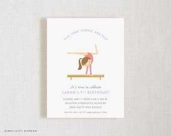 Birthday Invitations // Gymnast // Tumble Party