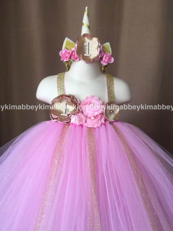 Hermosa bebe niña primer cumpleaños tutu vestido unicornio