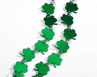 Green Shamrock Earrings Extra Long St Patricks Dangles Plastic Sequins