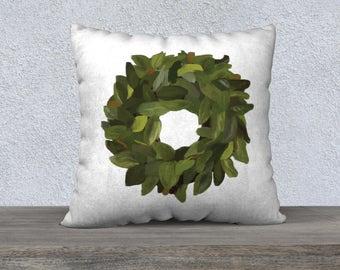 Magnolia Wreath Throw Pillow, home decor, housewarming gift, cushion cover, farmhouse decor, farmhouse style, magnolia wreath, magnolia