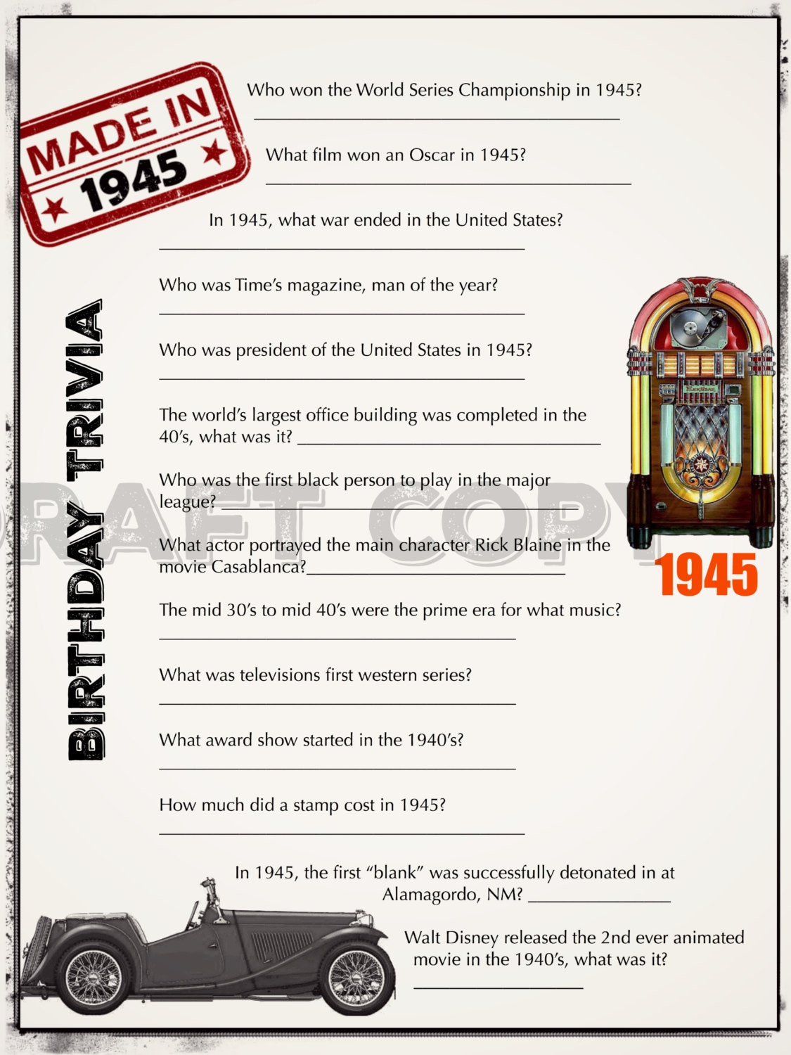Birthday Trivia Game 1945 60th 50th 70th Parties