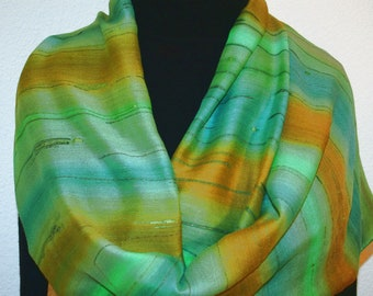 Green Terracotta Hand Painted Silk-Wool Shawl MOUNTAIN FIELDS, Silk Scarves Colorado. Elegant Silk Gift, Birthday Gift