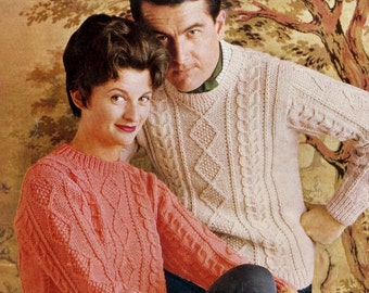 Bulky Family ChunkyAran style sweater 36 - 46 ins   - Lee Target 6484  PDF of Vintage Knitting Patterns