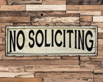 No Soliciting Vintage Looking Shabby Chic Metal Sign Kitchen Home Wall Décor