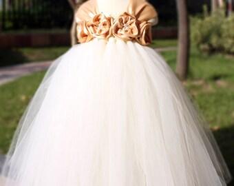 Flower Girl Dress Raw Slik tutu dress baby dress toddler birthday dress wedding dress 1T 2T 3T 4T 5T 6T