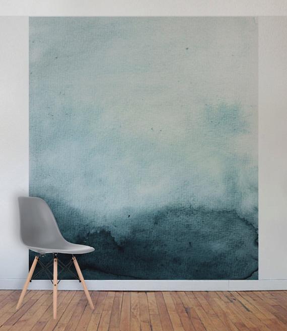 Türkis Aquarell-Wand-Wandbild selbst Klebstoff Stoff oder