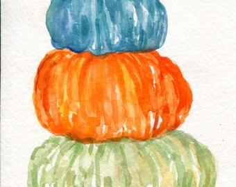Pumpkins watercolor painting original, Thanksgiving home decor, Fall artwork 4 x 6 Autumn watercolor, Stack o' pumpkins painting, Farmhouse