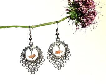 Organic earthy earrings, sunstone jewelry, natural stone earrings, earthy organic jewelry, natural sunstone earrings, gem stone jewelry syn