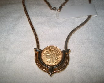 Vintage Costume Jewelry Coin Necklace Snake Chain