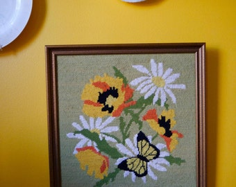 Needlepoint Framed Flowers and Butterfly