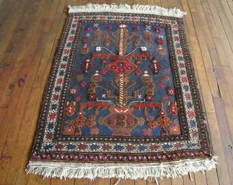 Persian rug 3x4 Rug Navy blue rug Kilim Rug Vintage Rug Blue Persian rug Blue boho rug Blue area rug Kids room rug Kitchen rug Nursery rug