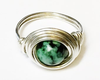 African Turquoise Gemstone Ring   African Turquoise Gemstone  Turquoise Ring  Sterling Silver Ring  Silver Jewelry