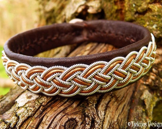 Viking Bracelet   Saami Armband   FREKI Pewter and Bronze Brown Leather Cuff   Your Size and in 30 Colors