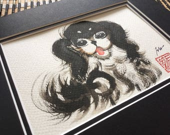 5x7 watercolor dog, birthday, baby shower, dog year, ink and brush