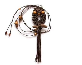 Brown Macrame Owl Necklace