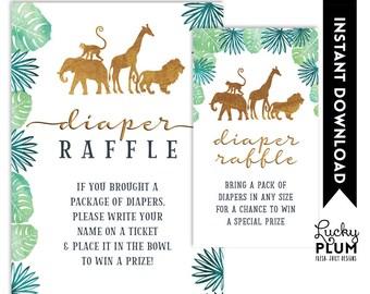 Safari Diaper Raffle / Animal Diaper Raffle / Jungle Diaper Raffle / Elephant Diaper Raffle / Giraffe Diaper Raffle Lion Monkey SF01