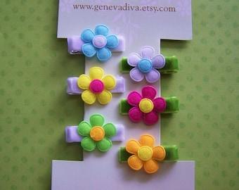 Set of 6 MINI Felt Flower Hairclips