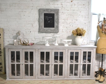 Painted Cottage Chic Shabby Hand Made Farmhouse Cabinet SV646