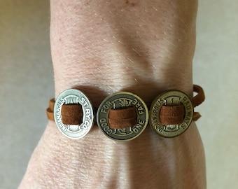 Vintage indiapolis train token leather bracelet