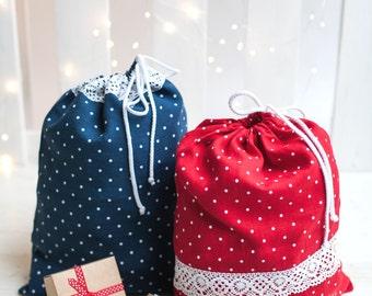 Christmas polka dot gift bags set of 2 - Drawstring linen bags - Linen bread bags - Red linen bags - Blue linen gift bags