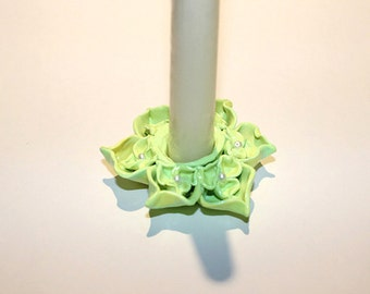 Polymer Clay Green Candle Holder