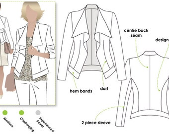 Sienna Woven Jacket // Sizes 10, 12 & 14 // Women's Jacket PDF sewing pattern for printing at home by Style Arc