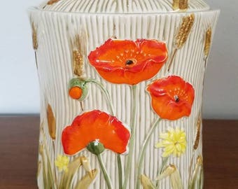Vintage Poppy Seed Canister, Ceramic Jar, Wheat, Lefton China