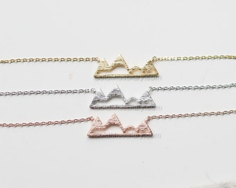 rose Gold Mountain Top Necklace, Dainty Mountain Pendant Necklace, Snowy Mountain Top Necklace, Mountain Charm, Nature Jewelry, gift ideas