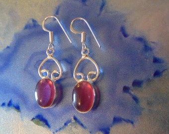 Amethyst and Sterling Silver Vintage Earrings