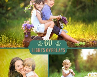 60 Lights overlays, Photoshop Overlays, Sun Lens Flare  overlay, sun flare overlay, Wedding Overlays, Light Leaks Photoshop, Sun Overlays