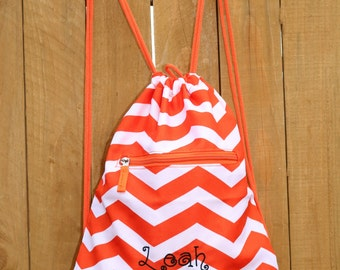 Personalized Chevron Drawstring Backpack