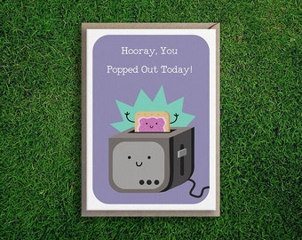 Greeting Cards | Happy Birthday Poptart Card, Cute Funny & Quirky Pun, Silly Pop Tart.