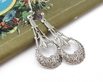 Art Deco Earrings, Vintage Style, Art Nouveau, Filigree Silver Plated, Ornate Dangle Chandelier, Wedding Jewelry, Hawaii Beads