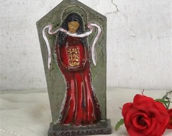 Ceramic Wall hanging Statue St Saint Godelieve Godeleva Gedelina Martyr HTF