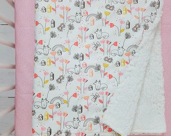 Woodland baby blanket - baby blanket - pink blanket - minky blanket - receiving blanket - security blanket - Infant blanket - fox blanket