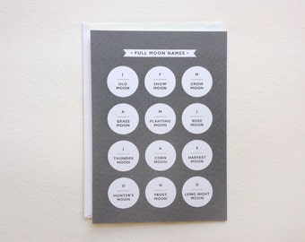 "full moon names card - astronomy stationery - (5.82"" x 4.13"")"