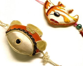 Vintage 1960's Silk Fish Ornaments, Set Of 2 Ornaments