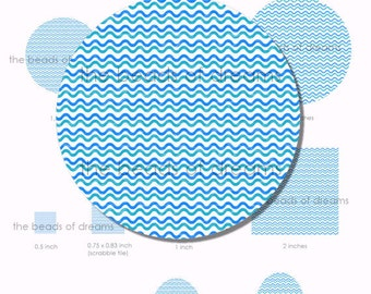 Digital collage sheet - Waves in blue - different sizes - INSTANT DOWNLOAD (cs0009)