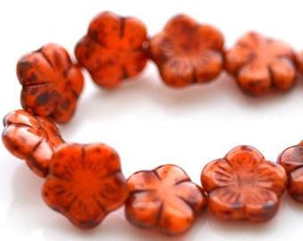 Pumpkin Picasso FLower Czech Glass Beads    4