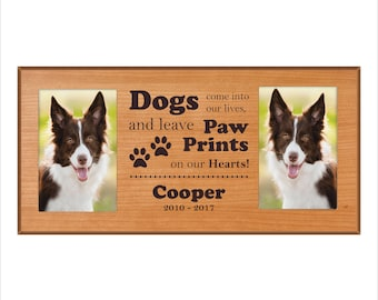 """Custom Dog Photo Frame, """"Dogs come into our lives and leave footprints on our hearts"""" In Memory Dog 4 x 6 Picture Frame, Double Dog Frame"""