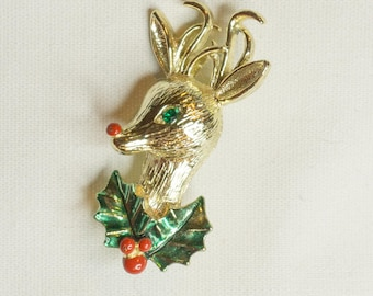 Vintage Signed Gerry's Rhinestone and Enamel Reindeer Christmas Holiday Brooch Pin