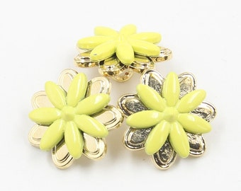 6 Pcs 0.71 Inches Gold+Yellow Chrysanthemum Flower Metal Shank Buttons For Shirts