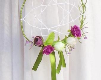 Wedding dreamcatcher, flower girl bouquet, floral dream catcher, Bohemian bouquet, dream catcher bouquet, Boho style wedding accessories.