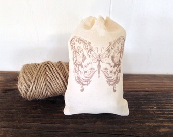 Butterfly Favor Bag Muslin Bag Party Favor Baby Shower Wedding Welcome Rustic Birthday Gift Bag Bridesmaid Thank You Jewelry Soap Bag Nature